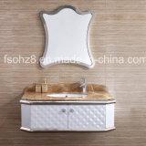 Vanité argentée élégante de salle de bains d'acier inoxydable