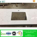 Верхняя часть таблицы кварца Carrara белая проектированная