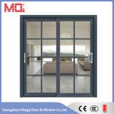 Puerta de vidrio de desplazamiento de aluminio de los tres paneles