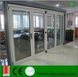 Porta de dobradura de alumínio do Bi do perfil de alumínio com vidro Tempered dobro