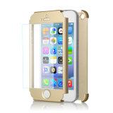 iPhone 5sのための緩和されたガラススクリーンの保護装置のケースが付いている低価格の中国の携帯電話カバー360完全なカバー