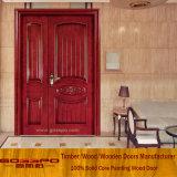 Парадный вход двойной двери притока твердой древесины неравный для дома (XS1-008)