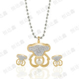 Form-Bär formte Halsketten-Gold überzogenes Edelstahl-Schmucksache-Set