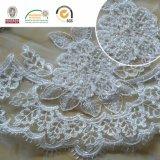 Tela blanca del cordón de la flor espléndida 3D para la boda y señora Dress C10015