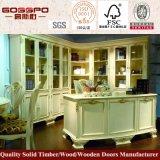 Bibliothèque résidentielle en bois blanc avec table d'étude (GSP9-024)