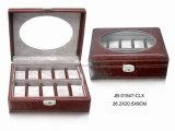 Caixa de Relógio de Brown/caixa de Couro Aceitáveis Handmade com Indicador de Indicador 10xslots