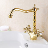 Flg Gold Painting Deck Mounted Double Handles Robinet de lavabo