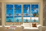 Двойная Tempered высеканная стеклянная алюминиевая раздвижная дверь для живущий комнаты