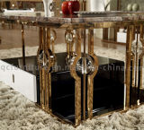 Fancy Rose Gold Table à manger en acier inoxydable avec des perles de cristal
