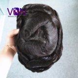 100% brasileira de forma natural do cabelo humano Swiss Mono Lace Toupee Cabelo