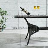 Mobiliário exterior de alumínio anodizado popular Mesa de jantar oval moldada em alumínio