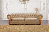 Кнопка софы роскошной золотистой кожаный живущий комнаты секционная Tufted (HC3009)