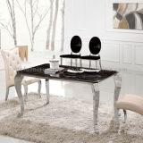 Table de salle à manger 6 tableaux en pierre de table en métal