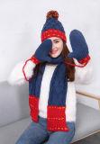 2017 Зимние теплой натуральной шерсти ручной вязки Red Hat шарфы перчатки,