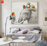 オウムおよび彼らの友人象のシマウマの壁の芸術の絵画
