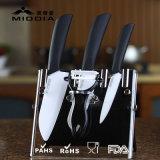 5pcs zircone lame de couteau de cuisine en céramique blanche définie avec bloc