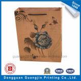 Хозяйственная сумка бумаги Brown Kraft высокого качества напечатанная цветком
