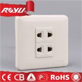 Tomada de poder elétrica de parede elétrica de 2 pinos branca