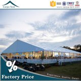 500 Peopleのためのヨーロッパ式の25X35m White PVC Fabric Glass Wall Party Ceremony Tent