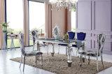 Table en acier inoxydable moderne avec plateau en verre pour la salle à manger
