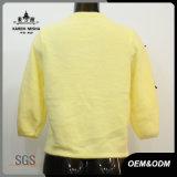 女性の高品質のBowknotの黄色によって編まれる衣服
