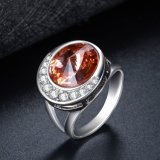 Новое кольцо белого золота ювелирных изделий прибытия покрынное большое каменное
