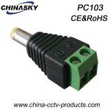 ねじ込み端子(PC103)が付いている2.1*5.5mmの男性の音さDCのプラグ