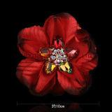 Цветок ткани Handmade декоративного Rhinestone шифоновый для вспомогательного оборудования одежды платьев