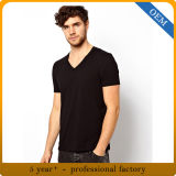 T-shirts bon marché de collet de la plaine V de la bonne qualité des hommes d'OEM
