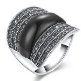 Declaração Fashion Ouro Branco Designs de anel de Pedra Preta metálica