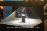 Una visualizzazione laterale Box, Hologram Pyramid Showcase di 3 3D Holographic per Watch Advertizing