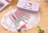 Kit de cepillo Mini Hello Kitty Rosa 7pcs profesionales Set Pinceles maquillaje de la fundación de la herramienta de maquillaje Belleza