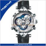 Todo o aço inoxidável 50 medidores Waterproof o relógio de pulso genuíno de RoHS da cinta de couro
