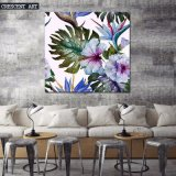 Tropic Flowers Palm Tree Canvas Print Painting