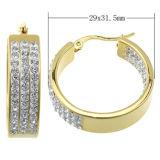 Gouden Oorring Van uitstekende kwaliteit van het Plateren van het Roestvrij staal van de Prijs van de Juwelen van Shineme de Beste met CZ (ERS6903)