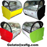 Gelatoの棒のためのアイスクリームのショーケースのカートか送風フリーザー
