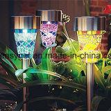 LED-Solargarten-Lichter Surlight 3 Farben-Mosaik-Solargarten-Stange-Landschaftslichter mit Selbstfühler-Funktion für Gartenflowerbed-Gehweg-Patio-Rasen Esg10199
