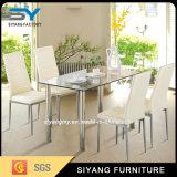 Mesa de jantar de vidro temperado com estilo americano