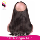 Закрытие шнурка человеческих волос 360 девственницы прифронтовое с эластичной резиновой лентой