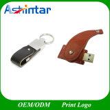Vara de couro do USB do USB Pendrive da impressão do logotipo da sustentação