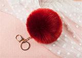 Pompom aerato Keychain di Keychain della pelliccia dell'anello portachiavi della sfera della pelliccia del Faux