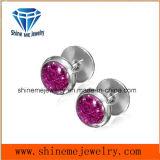 Boucle d'oreille en zircon violet simple en acier inoxydable