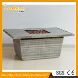 Jogo moderno da tabela do poço do incêndio do BBQ do Rattan da mobília ao ar livre ou interna do quadrado profissional do metal