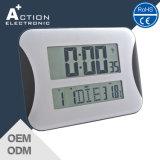 Grande visor LCD digital controlado por rádio relógio de parede ou mesa