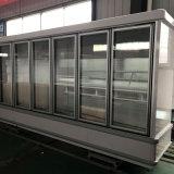 Supermercado de refrigeración de aire Enfriador de bebidas de la puerta de vidrio