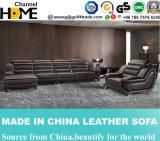 Portée trois avec le sofa de cuir de cabriolet pour la salle de séjour à la maison (HC2058)