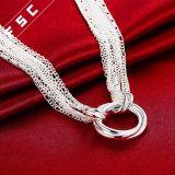 Silber überzogene umweltfreundlicher kupferner Kreis-hängende Halskette für Mädchen