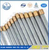 A alta qualidade 7/1.0mm galvanizou a costa de fio de aço para o cabo de fibra óptica/núcleo de aço