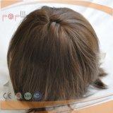 Volles überzogenes eingespritztes Brown-Farbemens-Perücke-Haar-Polyspitzenstück, MensToupee