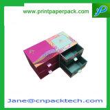 Rectángulo de regalo de papel de empaquetado del cajón de la manera del almacenaje doble del rectángulo